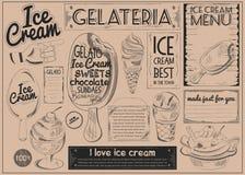Carta Placemat del mestiere del gelato Fotografie Stock