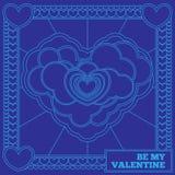 Carta porpora per il San Valentino Linea arte Immagine Stock Libera da Diritti