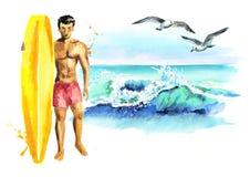 Carta praticante il surfing dell'oceano disegnato a mano dell'acquerello Immagine Stock