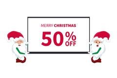 Carta promozionale di sconto con i piccoli elfi del Babbo Natale con una TV illustrazione vettoriale