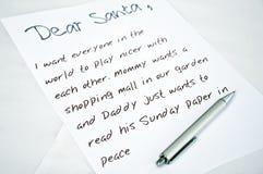 Carta querida de Santa Fotografía de archivo