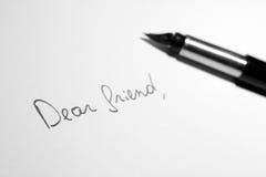 Carta querida del amigo Imágenes de archivo libres de regalías