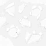 Carta realistica di vettore con la raccolta strappata dei bordi Insieme lacerato bianco della carta Immagini Stock Libere da Diritti