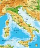 Carta in rilievo dell'Italia Fotografia Stock