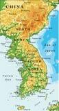 Carta in rilievo della penisola coreana Fotografia Stock Libera da Diritti