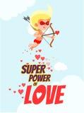 Carta romantica con il cupido come supereroe nella maschera che punta sul suo scopo Immagini Stock