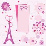 Carta romantica con la torre Eiffel su fondo floreale Fotografie Stock Libere da Diritti