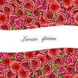 Carta romantica stupefacente con le foglie e le rose rosse nello stile d'annata Immagini Stock