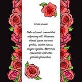 Carta romantica stupefacente con le foglie e le rose rosse nello stile d'annata Fotografia Stock Libera da Diritti