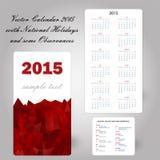 Carta rossa 2015 del calendario degli S.U.A. Fotografia Stock