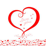 Carta rossa di giorno di biglietti di S. Valentino del cuore Fotografia Stock