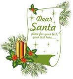Carta a Santa Santa-querido Foto de archivo libre de regalías