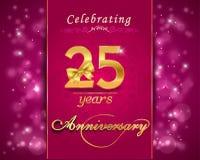 carta scintillante di celebrazione di anniversario di 25 anni, venticinquesimo anniversario Immagine Stock Libera da Diritti