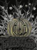Carta scura di Halloween con la zucca astratta Illustrazione di Stock