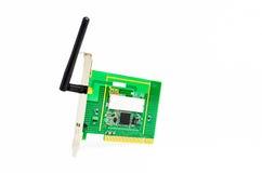 Carta senza fili del PCI del computer con l'antenna Fotografie Stock Libere da Diritti
