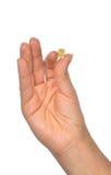 Carta SIM nana della tenuta della mano micro per il telefono cellulare Fotografie Stock