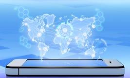 Carta sopra lo schermo del telefono Fotografia Stock Libera da Diritti