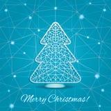 Carta stilizzata di taglio dell'albero di Natale Fotografie Stock
