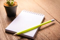 Carta succulente del taccuino e della matita in vaso sullo sfondo naturale di natura morta di legno della tavola, piante del cact Fotografia Stock Libera da Diritti