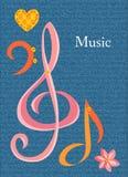 Carta sul tema musicale con il posto per testo Fotografia Stock Libera da Diritti