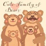 Carta sveglia con una famiglia degli orsi bruni Il papà abbraccia la madre ed i bambini Immagini Stock Libere da Diritti