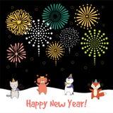 Carta sveglia del nuovo anno, insegna Immagini Stock