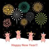 Carta sveglia del nuovo anno, insegna illustrazione vettoriale