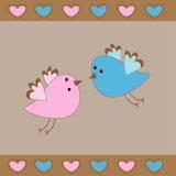 Carta sveglia di amore degli uccelli. Fotografia Stock