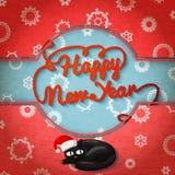 Carta sveglia di Buon Natale retro sulla carta del mestiere illustrazione vettoriale