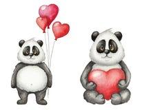 Carta sveglia di giorno del ` s del biglietto di S. Valentino del san dell'acquerello con il panda royalty illustrazione gratis