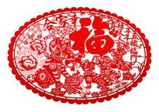 Carta tagliato piano rosso su bianco come simbolo del nuovo anno cinese del cane 2018 illustrazione di stock