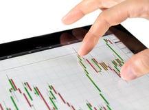 Carta tocante do mercado de valores de acção Fotografia de Stock