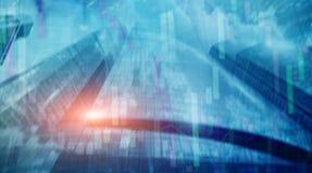 Carta universal del gráfico del desarrollo económico del fondo del extracto de las finanzas en ciudad futurista Exposición doble libre illustration