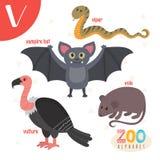 Carta V Animales lindos Animales divertidos de la historieta en vector stock de ilustración