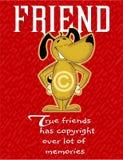 carta variopinta circa amicizia, cane che sorride sulla carta illustrazione vettoriale