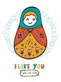 Carta variopinta con la bambola russa sveglia Immagini Stock