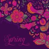 Carta venente della primavera Fondo floreale, tema della molla, accogliente Ca Immagini Stock Libere da Diritti