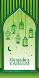 Carta verde de la linterna del Ramadán Fotos de archivo libres de regalías