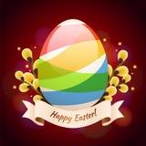 Carta verde feliz de Pascua con el huevo coloreado Fotos de archivo libres de regalías