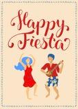 Carta verticale di festa felice con le coppie e l'iscrizione ballanti Uomo di ballo di Latina e manifesto della donna illustrazione di stock
