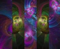 Carta vibrante del mosaico di colore del fiore di frattale di astrazione illustrazione vettoriale