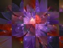 Carta vibrante del mosaico di frattale di astrazione di colore di superficie del fiore illustrazione vettoriale
