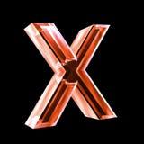 Carta X en el vidrio rojo 3D Imagenes de archivo