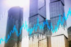 Carta y diagramas de la palmatoria de la compra y venta de acciones en fondo borroso del centro de la oficina stock de ilustración