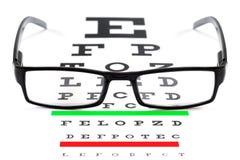 Carta y gafas de ojo fotografía de archivo