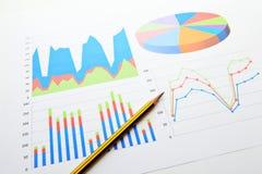 Carta y gráficos del análisis de datos Fotografía de archivo libre de regalías