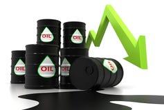 Carta y precio cada vez mayor del aceite Imagenes de archivo