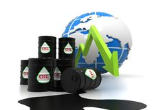 Carta y precio cada vez mayor del aceite Imagen de archivo libre de regalías