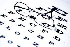 Carta y vidrios de ojo Imágenes de archivo libres de regalías