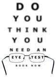 Carta y vidrios de prueba del ojo Imagenes de archivo